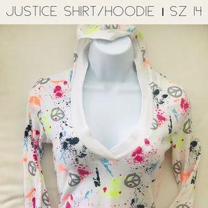 Justice Paint Splatter Long Sleeve Hoodie Sweater
